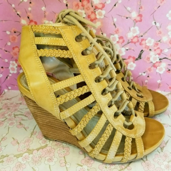 6e9abc78895e Bakers Shoes - Bakers tan gladiator wooden wedge shoes 6